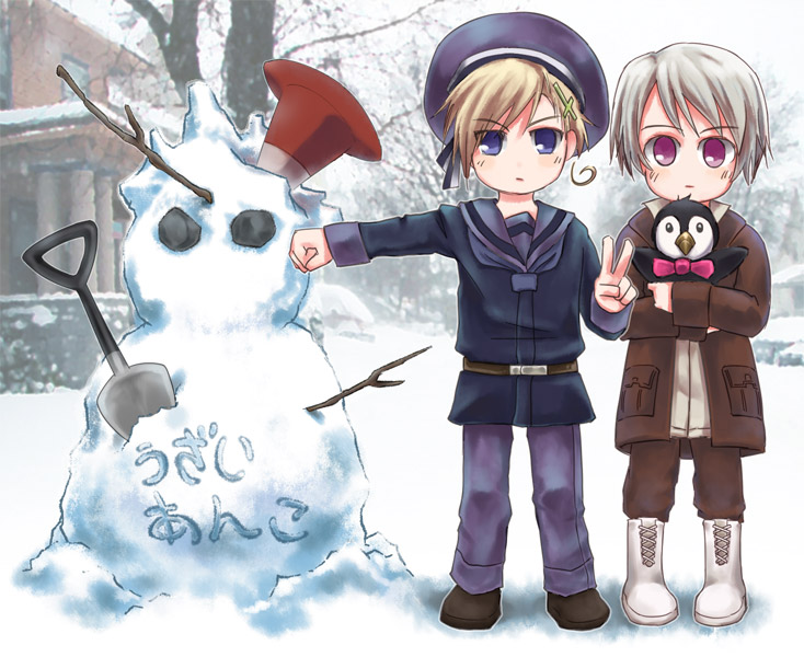 嗯…照片?沒有手套的幼挪君&冰君(其實是我忘了畫手套而已)還有丹哥雪人